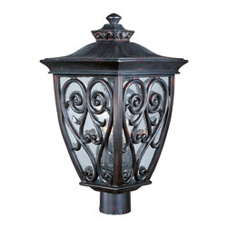 Newbury VX-Outdoor Pole/Post Mount - Maxim Lighting's Newbury VX Collection is made with Vivex, a material twice the strength of resin, is non-corrosive, UV resistant and backed with a 3-Year Limited Warranty. Newbury VX features our Oriental Bronze finish and Seedy glass.