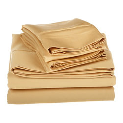 1500 Thread Count Egyptian Cotton King Gold Oversized Solid Sheet Set - 1500 Thread Count oversized King Gold Solid Sheet Set 100% Egyptian Cotton