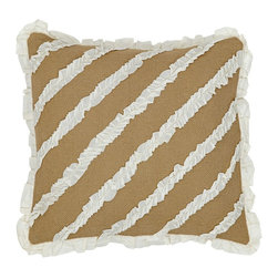 """VHC Brands - Burlap Natural & Cream Voile Bow Pillow - This pillow measures 16""""x16"""", is 100% cotton woven into a """"burlap"""" fabric for a soft, natural look. This pillow features ruffles in a creme voile fabric sewn onto the front. The back features a 3"""" overlap with 2-buttons to conceal pillow insert. Spot clean with a damp cloth."""