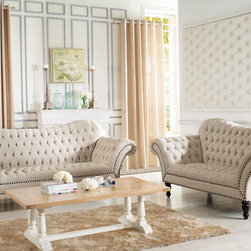 """Baxton Studio - Baxton Studio Bostwick Beige Linen Classic Victorian Sofa Set - Fanciful with ornate detail, lovers of all things tufted and feminine will fall for the Bostwick Sofa and Loveseat Set's old-world appeal. Updated with simple beige linen rather than obsolete richly-colored brocade, this two-piece living room seating set is perfect for the modern home. Made by and imported from Chinese craftsmen, the Bostwick Collection includes sofa and loveseat frames made of birch and engineered woods, firm foam cushioning, and black turned wood legs. Gorgeous detailing is plentiful: button tufting, scroll arms, and antiqued bronze nail head trim make this a living room seating collection not to be missed. Keep your new furniture looking fresh as ever by spot cleaning the upholstery as needed. Minor assembly is required.  sofa dimension: 100""""W x 37.5""""D x 40.5""""H , seat dimension: 63""""W x 22.75""""D x 19""""H arm height: 31.5 inches, loveseat dimension: 83""""W x 37.5""""D x 40.5""""H , seat dimension: 47""""W x 22.75""""D x 19""""H arm height: 31.5 inches"""