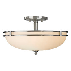 Murray Feiss - Murray Feiss Kellenberg Transitional Semi Flush Mount Ceiling Light X-SB652FS - This Kellenberg transitional semi-flush mount ceiling light by Murray Fleiss has streamlined, simple styling and classic details. Similar to the craftsman style but updated for today's interiors, this light features a white opal etched glass shade with a rim in a brushed steel finish. It's a great addition to a contemporary-style home.