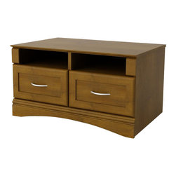 Ameriwood - Ameriwood Entryhall Storage in Resort Cherry - Ameriwood - Living Room Benches - 3571207PCOM - Tired of shoes sneakers rain gear and winter accessories cluttering the floor around your entryway? Keep it all stored away neatly in this handsome Entryway Storage Bench from Ameriwood. With two open compartments and additional drawers underneath this great-looking piece offers convenient storage space for your front door or other entryways. The two open compartments make a great spot to keep the day's mail as well as magazines books or even an umbrella. In the winter use the compartments to keep hats gloves and scarves easily accessible. Two additional storage drawers allow you to hide plenty of other items such as shoes sandals and other accessories. In Ameriwood's Resort Cherry finish the Entryway Storage Bench features attractive framed drawer fronts and a decorative arched kick. Easy to assemble with household tools. Made in USA.