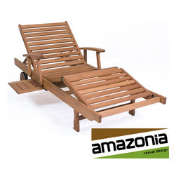 Amazonia - Mariscal Eucalyptus Lounger - Create a casual atmosphere in your yard with this contemporary outdoor wooden lounge chair, featuring a stained finish. As long as proper care is given, this chair will handle adverse weather conditions very well without needing to move it indoors.