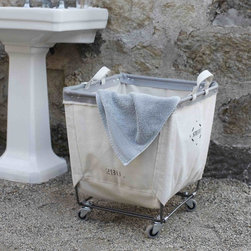 Handy Canvas Rolling Tote - Gathering towels and laundry in this rolling canvas bin would be ideal.
