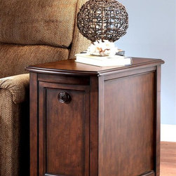 Signature Design by Ashley - Rectangular Side Table w Storage - Brookstone - In the Brookfield accent group, you'll have options for putting an inviting furniture ensemble together. Our featured chair side table offers cabinet styling and single front door access. Scroll feet accent the base with block style supports at the back. Color/Finish: Dark Rustic. Collection: Brookstone. Traditional design with a European country flavor. 16 in. W x 26 in. D x 26 in. H