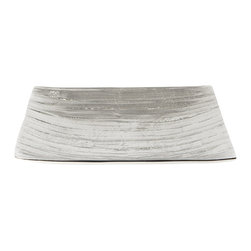"""Lazy Susan - Aluminum Bark Platter, Small - Stunning silver sculpted into a pattern inspired by the bark of the Everglades makes an enchanting platter. The curved shape has four pretty aluminum feet, which keep it in perfect balance. Ideal topped with decorative accessories or displayed as a work of art it is sophisticated and organic. small: 9""""x9""""x1.25"""" large: 15.75""""x15.75""""x2.5"""""""