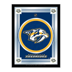 """Holland Bar Stool - Holland Bar Stool Nashville Predators Logo Mirror - Nashville Predators Logo Mirror belongs to NHL Collection by Holland Bar Stool The perfect way to show your team pride, our logo mirror displays your team's symbols with a style that fits any setting.  With it's simple but elegant design, colors burst through the 1/8"""" thick glass and are highlighted by the mirrored accents.  Framed with a black, 1 1/4 wrapped wood frame with saw tooth hangers, this 17""""(W) x 22""""(H) mirror is ideal for your office, garage, or any room of the house.  Whether purchasing as a gift for a recent grad, sports superfan, or for yourself, you can take satisfaction knowing you're buying a mirror that is proudly Made in the USA by Holland Bar Stool Company, Holland, MI.   Mirror (1)"""
