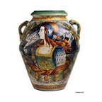 Artistica - Hand Made in Italy - MAJOLICA: Large Tuscan Orcio with Noblewoman profile ''Salus Populi'' - MAJOLICA Collection: This masterpiece truly reflect the expertise of the Italian Mastri-Ceramisti, who have spent the last five centuries perfecting the tin-glazed earthenware that is today called Majolica.