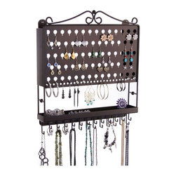 Jewelry Organizer Earring Holder - Multi-Purpose Earring Angel - The Multi-Purpose Earring Angel is an earring holder, necklace rack and jewelry organizer all in one that was specifically designed to organize long necklaces, bracelets, earrings, body jewelry and other accessories. This jewelry organizer was created to organize a variety of types and sizes of earrings from tiny stud earrings to medium sized dangles and hoops.