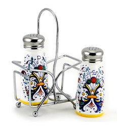 Artistica - Hand Made in Italy - Ricco Deruta: Salt and Pepper Shaker Set with Stainless Steel Top - Metal parts made in the USA - Ceramic parts hand painted and imported from Deruta-Italy.