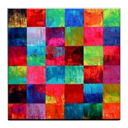Matthew's Art Gallery - Oil Painting Abstract Art on Canvas Colorful Squares - The Painting:  Colorful Squares