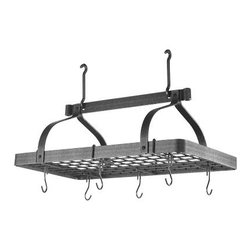 "Enclume Grande Cuisine Rectangular Pot Rack - No more digging through the cabinets looking for the man you need.  You'll love the way this overhead pot rack keeps your pans organized and at the ready. The heavy-duty frame is fashioned from hammered steel with a waxed finish. This pot rack is sturdy enough to support your heaviest pans. 30"" x 17"" x 22"" high (from ceiling to bottom of pot hook)"