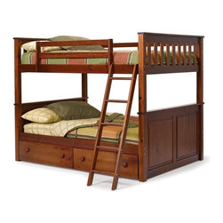 Woodcrest - Woodcrest Pine Ridge Full over Full Bunk Bed - Chocolate - 5254 - Shop for Bunk Beds from Hayneedle.com! The beauty of the space-saving Pine Ridge Chocolate Full over Full Bunk Bed? It has plenty of room for your kids to spread out with two spacious full beds stacked to take up the floor space of just one. It has other covetable features too. Crafted entirely of super-durable solid hardwood the bunk bed features clean simple lines flat moldings and slatted and paneled headboards and footboards finished in a rich warm chocolate brown. Mission-style slats and safety rails line the top bunk and the included ladder is finished in a coordinating shade. Opt to add under-bed storage drawers to make the most of the space under the bed. Two wide side-by-side drawers slip under the bottom bunk to catch spare linens toys and clothing. Each drawer is fronted by dual wood knobs for smooth easy operation. Choose the bunk bed only; the bunk bed and storage drawers; or the bunk bed and two storage drawers We take your family's safety seriously. That's why all of our bunk beds come with a bunkie board slat pack or metal grid support system. These provide complete mattress support and secure the mattress within the bunk bed frame. Please note: Bunk beds and loft beds are only to be used by children 6 years of age or older. About Woodcrest ManufacturingIn business for nearly 20 years Woodcrest Manufacturing has grown beyond its simple origins in Peru Indiana to become a leader in global furniture industry partnerships. They specialize in stairway bunk bed designs and all their products are tested by independent laboratories to ensure top safety in your child's bedroom.