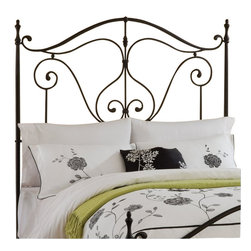 Hillsdale - Hillsdale Caffrey Headboard in Dusty Bronze Finish-Full - Queen - Hillsdale - Headboards - 1013490 - Elegantly romantic and reminiscent of the antique wrought iron classics the Caffrey Bed is stylish without becoming overwhelming. The Caffrey's dusty bronze finish accents the arching linear design that whimsically adorns both the headboard and footboard. The Caffrey is available in queen and king size or just as a headboard. Some assembly required.