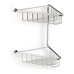 StilHaus - Chrome Wire Corner Double Shower Basket - Wall mounted contemporary style corner shower basket(s). Double bathroom accessories holder made out of brass with a polished chrome finish. Two tier corner shower rack easily attached to the wall with screws. Made in Italy by StilHaus. Wall mounted corner shower basket(s). Double tier. Contemporary design. Made out of brass. Polished chrome finish. Easily attaches to the wall with screws. From the StilHaus Wire Collection.