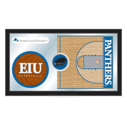 "Holland Bar Stool - Holland Bar Stool Eastern Illinois Basketball Mirror - Eastern Illinois Basketball Mirror belongs to College Collection by Holland Bar Stool The perfect way to show your school pride, our basketball Mirror displays your school's symbols with a style that fits any setting.  With it's simple but elegant design, colors burst through the 1/8"" thick glass and are highlighted by the mirrored accents.  Framed with a black, 1 1/4 wrapped wood frame with saw tooth hangers, this 15""(H) x 26""(W) mirror is ideal for your office, garage, or any room of the house.  Whether purchasing as a gift for a recent grad, sports superfan, or for yourself, you can take satisfaction knowing you're buying a mirror that is proudly Made in the USA by Holland Bar Stool Company, Holland, MI.   Mirror (1)"