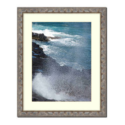 """Frames By Mail - Wall Picture Frame Bronze with Silver highlights - white acid-free matte, 8x10 - This 8X10 bronze with silver highlight picture frame is imported from Italy.  It is 1.25"""" wide and the back of the frame is black. The white matte can be removed to accommodate a larger picture.  The frame includes regular plexi-glass (.098 thickness) foam core backing and can hang either horizontal or vertical."""
