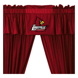 Store51 LLC - Louisville Cardinals 5-Piece Long Curtain-Drapes Valance Set - Features: