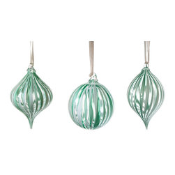 Working Man Hand Made - Set Of Green And White Ribbon Cane Holiday Ornaments - All of our holiday ornaments are made using traditional Italian glass blowing techniques accentuated by bright and festive colors. Our line of transparent ornaments will brighten your holiday season!