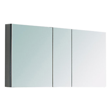 "Fresca - Fresca 50"" Wide Bathroom Medicine Cabinet w/ Mirrors - This 50"" medicine cabinet features mirrors everywhere.  The edges have mirrors and also on the interior of the medicine cabinet.  The inside features four tempered glass shelves.  Can be wall mounted or recessed into the wall."