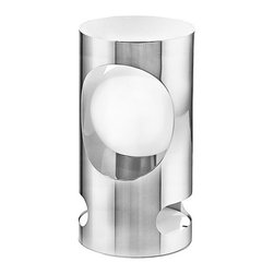 Eglo - Eglo 89638A 1 Light Table Lamp from the Tubola Collection - Eglo 89638A Tubola 1 Light Table LampNot merely a light fixture but a piece of artistic expression, this table lamp from the Tubola Collection showcases a Globe Shaped White Glass shade resting inside a sculpted cylinder of a Chrome / White Finish. This piece will make a bold statement in any environment.Eglo 89638A Features: