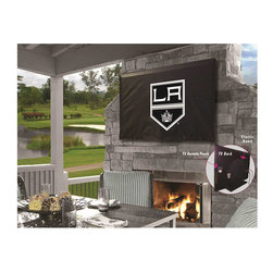 """Holland Bar Stool - Holland Bar Stool TV-LAKing Los Angeles Kings TV Cover - TV-LAKing Los Angeles Kings TV Cover belongs to NHL Collection by Holland Bar Stool This Los Angeles Kings TV Cover by HBS is hand-made in the USA using the finest commercial grade vinyl and utilizing a step-by-step screen print process to give you the most detailed logo possible. UV resistant inks are used to ensure exeptional durablilty to direct sun exposure. Spandex-like material wraps around the back of the TV, keeping moisture out while allowing heat out and helping to prevent overheating. Back opening allows a fit on any wall mount, and bungee allows cover to be cinched down securely. Cover also contains a pocket for remote control storage. This product is Officially Licensed, so you can show your pride while protecting your TV from the elements of nature. Keep your TV protected and support your team with the help of Covers by HBS! Fits TV sizes 30"""" to 36"""". TV Cover (1)"""