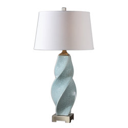 Uttermost - Girata Twisted Ceramic Lamp - Twist and shout! This gorgeous, ceramic, powder blue lamp sits on a brushed aluminum foot with matching finial. On your side table, the twisted base is graceful and strong lending a visual texture to your room.