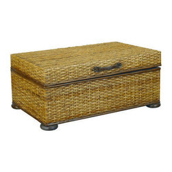 Hammary - Hammary T73256-00 Hidden Treasures Trunk Cocktail Table in Rattan Weaving - The Hidden Treasures collection is a fabulous assortment of one-of-a-kind accent pieces inspired by the greatest furniture designs from around the world. Each selection is a true treasure - rich in Old World icons and traditions. All the pieces in this collection are crafted with attention to every detail. From brass nailhead trim and exquisite hand-painting to elegant shaping and decorative trim, every item is a unique work of art. A wide variety of materials is used to create the perfect look and finest quality - from exotic woods, leather and stone to raffia and glass. The huge selection of finishes, hardware, exceptional carvings and other final touches offer unsurpassed versatility for any room in the home. Hidden Treasures includes cocktail tables, occasional and accent pieces, trunks, chests, consoles, wine racks, desks, entertainment units and interesting storage pieces. Place one in a comfortable reading nook... in the family room for flair and variety... in the foyer for a welcome look... in a bedroom for cozy style... or in the office for function and versatility. The pieces in this collection mix beautifully with any decorating style and will easily become the focal point in any setting. - T00071-T73256-00.  Product features: Double Hinged Top with Leather Strap Handle; Decorative Paper Lined Interior with Ventilation Holes; Rattan Weaving. Product includes: Trunk (1). Trunk Cocktail Table in Rattan Weaving belongs to Hidden Treasures Collection by Hammary.