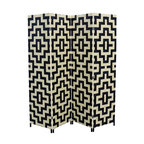 Hand-Crafted 4-Panel Black/Natural Paper Straw Weave Screen - Geometric patterns are never quite as striking as when they're featured in high contrast, and there's no higher contrast than black and white.