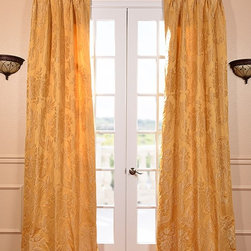 Magdelena Golden French Pleat Faux Silk Jacquard Curtain - Defined by a unique sheen and textured weave, our EXCLUSIVE Faux Silk Jacquard curtains are gorgeous and timeless. They have a beautiful textured finish in brilliant and contrasting colors.