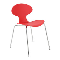 Becky Side Chair (Set Of 4)-Red/Chrm - It's understandable if you're captivated by this stunning side chair's sensuous curves, but don't overlook another dramatic feature. Turn the chair around and take in the striking slatted detail.
