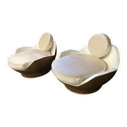 "Pre-owned Mod Retro low Swivel Coconut Chairs - A Pair - Note from the seller: ""I love these great Mid Mod chairs with their low round coconut cut look, they are on swivel bases which work great. My favorite thing(s) about them- no matter what position they are in they take up exactly the same amount of space and they swivel all the way around.""    Actual seat height is 13""  Diameter is 32"" at widest point, seat back height is 18"""