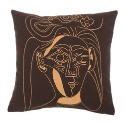 Decorative Pillow, Picasso- Jacqueline au Chapeau a Fleurs (1962) - This French tapestry pillow from Jules Pansu, features Picasso's second wife, Jacqueline. She is the subject of this appealing mid-century line drawing of a woman in a hat, in pale yellow on a soft brown background. This oil on canvas was painted in 1962. Jules Pansu knows how to use different techniques to recreate the strokes of a brush in this nearly identical reprodution. Jules Pansu knows how to use different techniques to recreate the strokes of a brush in this nearly identical reproduction. The Jules Pansu company is the only weaver allowed to create a collection from the paintings of Pablo Picasso with approval from the Picasso Administration. The works were reproduced without modification, in strict compliance with the original colors and in full, perfectly faithful to Picasso's paintings with the agreement of the Picasso Estate.