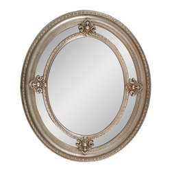 """Enchante Accessories Inc - Framed Oval Wall Mirror 24""""x 28"""" (Silver) - Polystyrene Framed Oval Wall MirrorDecorative design with a weathered finish for a vintage lookPerfect Foyer MirrorVersatile design that can be hung in any hallway, living room, bedroom, or entrywayMeasures 24 in. x 28 in.Mirrors not only reflect your image, but they reflect your style.  The types of mirrors you choose to hang in your home not only provide function, but act as a great accent piece that shows your sense of style apart and reflects your taste.  Made from durable wood and accented with distressed finishes, beveled edges, and weathered details that give them a rustic, vintage look, these mirrors add beauty to any wall in any room of the house.  Perfect for use in an entry way, a hallway, a dining room, a living room, or a bedroom, these rustic mirrors have that vintage inspired French country look that adds instant charm and casual comfort to any home. For a unique look and an interesting display, hang mirrors of different sizes, shapes, and colors on the same wall.  Mirrors help to add texture and dimension and create the illusion of a larger space.  By hanging multiple mirrors in a small space, you can create interest and increase the perceived size and feel of the space around you.  Available in both rectangular shapes and rectangular shaped frames with oval mirrors in the center, these rustic wood mirrors come in a variety of color finishes that have a neutral appeal and can be easily coordinated with any type of rustic furniture or shabby chic room decor. With the look and feel of a treasured family heirloom, these mirrors are aged and weathered to give them a vintage look and evoke a sense of old fashioned spirit.  Reminiscent of something you may have once seen in a charming country cottage, these wooden mirrors let you check out your own reflection as well as reflect the beautiful room around you.  The antique look makes them the perfect addition to any casual space while the"""