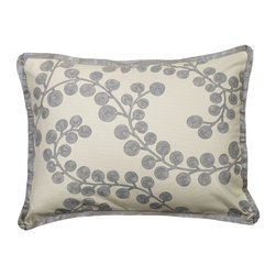 """Mystic Valley - Mystic Valley Traders Radiance Steel - Standard Sham - The Radiance Steel sham is fashioned from the Bough Blue fabric on each side, and finished with a Glimmer Steel flower flange; sold flat (without fills); standard 20""""x26""""."""