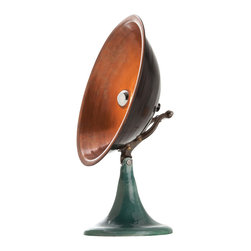 """Kathy Kuo Home - Wooster Industrial Loft Aged Copper Black Iron Accent Table Lamp - Now here's a serious conversation starter: crafted from distressed copper and enameled iron, this accent lamp looks like it might have had a previous life transmitting messages to a flying saucer ala """"war of the worlds"""" but is in fact sending light wherever you direct it. Industrial and vintage lighting fans take note, pieces like this are rare indeed!"""