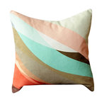 Sugar Pink Abstract Pastel Pillow - Sugar pink polycotton pillow cover with tan, gray, red, sugar pink, mint and brown abstract figure. This beautiful pillow will make the perfect accent on a couch, chair, window seat or bed. It would also make a perfect housewarming gift too!