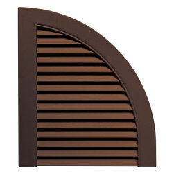 """Builders Edge - Louvered Design Quarter Round Tops in Federal - Provides distinctive styling for standard shutters. Constructed with color molded-through vinyl so they will not scratch, flake, or fade. Durable, maintenance-free U.V. stabilized, deep wood grain texture. Made in the USA. For use with Builders Edge 15"""" Standard Louver Shutters only. 14.5 in. W x 1 in. D x 17 in. H (1.69 lbs.)"""