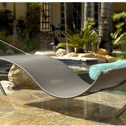 Outdoor Wicker Hammock - I love hammocks. Sometimes it's difficult to get the comfort of a hammock with a contemporary design. This one fits all qualifications and is great looking.