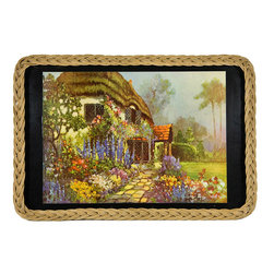 Lavish Shoestring - Consigned Drinks Party Tray Vintage English Thatched Cottage with Woven Border - This is a vintage one-of-a-kind item.