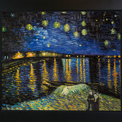 "overstockArt.com - Starry Night Over The Rhone - Vincent Van Gogh Oil Painting - 20"" x 24"" Oil Painting On Canvas In 1889, Vincent Van Gogh finished the masterpiece Starry Night Over the Rhone. A depiction of the Arles at night, the artist created it while on the river banks. The spot where he painted it was close to a house he was renting at the time. The view that the observer sees are the houses from the east side of the Rhone in the evening. What stands out the most in the Starry Night Over the Rhone painting is the gas lighting reflecting off the water as a couple strolls nearby in the foreground of the painting. Van Gogh is well known for having a depressive personality that fueled his creativity with a sense of equal amounts of happiness and despair. Much of this emotion is depicted in this piece of artwork."