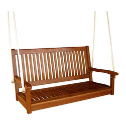 "International Caravan - International Caravan Outdoor 48"" Two Seater Wood Swing - International Caravan - Outdoor Gliders and Swings - TTSW007 - For over 44 years International Caravan has been one of the leaders in quality outdoor and indoor furniture.  Using only the finest materials they bring skill craftsmanship and complete dedication to those who enjoy their furniture.  You cannot go wrong with any of International Caravan's beautifully constructed pieces of furniture that are sure to be a focal point inside or outside of your home for years to come.Features:"