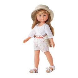 Corolle Les Cheries Camille En Vacances 13 in. Doll - The Corolle Les Cheries Camille En Vacances 13 in. Doll is dressed and ready for an adventure. This pretty 13-inch doll is designed for girls four and older. She's vacation-ready in her floral-print short jumpsuit with matching sandals and white knitted cardigan. A canvas sunhat and coordinating bag slung across her shoulder complete the look. Camille's silky, long blonde hair may be brushed and styled. She's gently scented with vanilla, has big blue eyes, and always wears a sweet expression.About CorolleCorolle is a premier doll brand designed in the storybook region of France's Loire Valley. Since 1979, Corolle has been creating highly detailed dolls designed to be cherished by children everywhere. Every Corolle doll will inspire magical childhood memories that will last for a lifetime. Corolle dolls look and feel as real as possible. They're created of soft, supple vinyl, have natural-looking hair, and wear on-trend fashions. Corolle dolls are designed durable enough to withstand years of hugs and love. Perfect heirloom treasures! Doll play encourages children to explore different roles from caring for and sharing hopes and dreams to finding an understanding playmate and friend for life. Corolle designs dolls for children of all ages.There is a range of Corolle dolls designed for specific ages. Babi Corolle is a soft-body doll perfect for newborn babies and older. It's machine-washable, feather-light, and made to be loved. Mon Premier Corolle is designed for babies 18 months and older. This line includes a range of baby dolls, clothing, and accessories. The dolls are lightweight and soft. The clothing has Velcro closures so it's easy to put on and take off. Mon Classique Corolle is a classic baby doll designed for toddlers to love and nurture. This line has a complete assortment of larger baby dolls, clothing, and nursery accessories. Some even have hair that can be brushed and styled. Others coo, giggle, drink, and go potty. Mademoiselle Corolle is a toddler doll for toddlers. These dolls have expressive faces, silky long hair, and are dressed in the latest styles. This doll will be your little one's best friend. She's perfect for sharing secrets and working out new hairstyles and fashion. Les Cheries Corolle is designed for little ones four years and older. She has long, lush, rooted hair and an amazing wardrobe of stylish outfits. This doll provides endless hours of fashion and hair play.