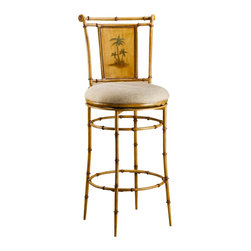 Hillsdale - Hillsdale West Palm Swivel Bar Stool - 4330-830 - Feel the breeze off the ocean and smell the salt air as the West Palm Swivel Stools bring the islands into your home. These stools give the appearance of bamboo with the sturdy construction of metal and a burnished brown finish. The hand-painted palm trees that accent the 360 degree swivel stools are exquisite and add a splash of color