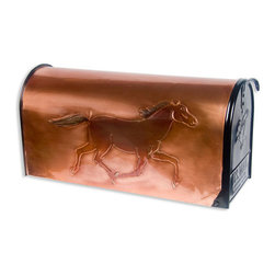 Black Beauty Post Mount Copper Mailbox - Copper - Add an extra detail to your own home's exterior with this striking post mount copper mailbox.  The bright copper is hand-embossed with a running horse and accented with subtle color. Makes a great gift for the horse enthusiast.