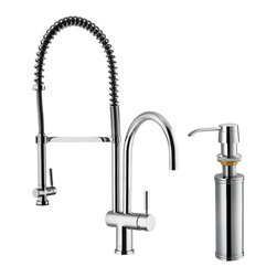 Vigo - Vigo Chrome Pull-Down Spray Kitchen Faucet with Soap Dispenser - This stylish and durable faucet is sure to give your kitchen sink a new look