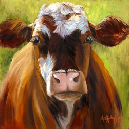 Oil Paintings by Cheri - Cow Print, Mozart, Brown Spotted Cow on Green Background - 24x24 Stretched Canvas Giclee Print