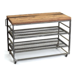 Go Home - Go Home Easton Table - This Easton table is from the vintage industrial furniture collection. It is made up of steel and reclaimed wood with plenty of storage space. It is an ideal piece to keep things handy as its vintage industrial finish and three level storage spaces are its highlight.