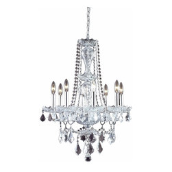 """PWG Lighting / Lighting By Pecaso - Portier 8-Light 21"""" Crystal Chandelier 6714D21C-RC - Classic, Old World look in an affordable price range makes this Portier Collection impressive. This collection has a stunning crystal centerpiece with chrome or gold frames."""
