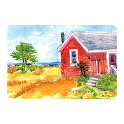 Caroline's Treasures - Old Red Cottage House At The Lake Or Beach Kitchen Or Bath Mat 20X30 - Kitchen or Bath COMFORT FLOOR MAT This mat is 20 inch by 30 inch.  Comfort Mat / Carpet / Rug that is Made and Printed in the USA. A foam cushion is attached to the bottom of the mat for comfort when standing. The mat has been permenantly dyed for moderate traffic. Durable and fade resistant. The back of the mat is rubber backed to keep the mat from slipping on a smooth floor. Use pressure and water from garden hose or power washer to clean the mat.  Vacuuming only with the hard wood floor setting, as to not pull up the knap of the felt.   Avoid soap or cleaner that produces suds when cleaning.  It will be difficult to get the suds out of the mat.